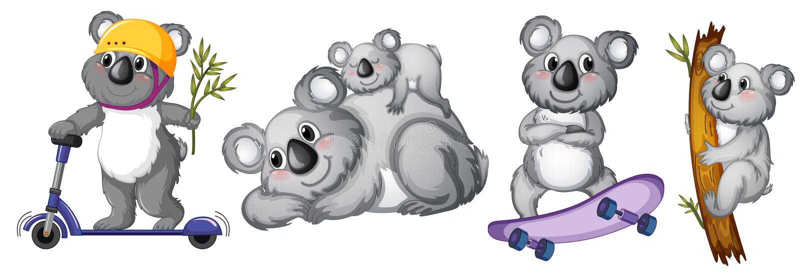 Reeks van koalakarakter stock illustratie