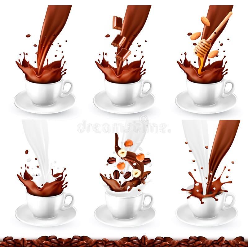 Reeks van koffie en cappucino met verschillende aroma's en plons in koppen Melk, chocolade, noten, honing stock illustratie