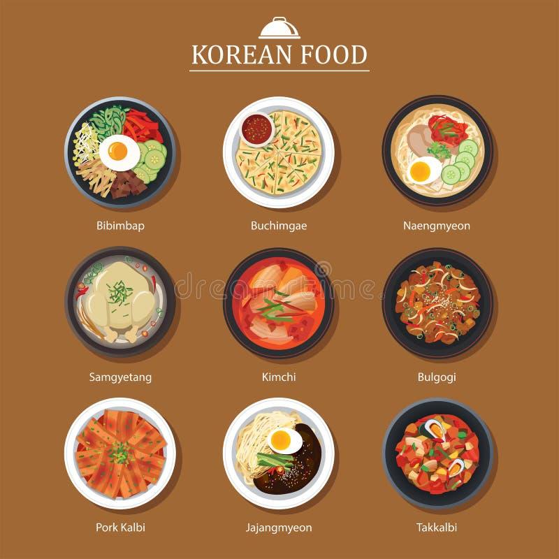 Reeks van Koreaans voedsel vlak ontwerp Van het de straatvoedsel van Azië de illustratiebedelaars royalty-vrije illustratie