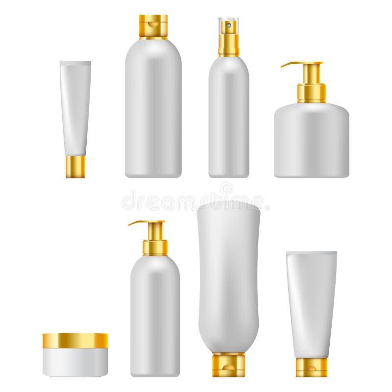 Reeks van kosmetische verpakking met gouden die kappen, op wit wordt geïsoleerd stock illustratie