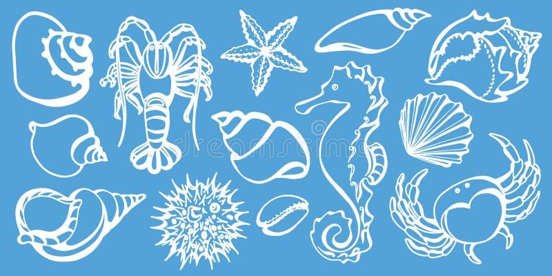 Reeks van krab, zeepaardje, kanker, zeeschelp, zeeëgel, zeester Schetsvector stock illustratie