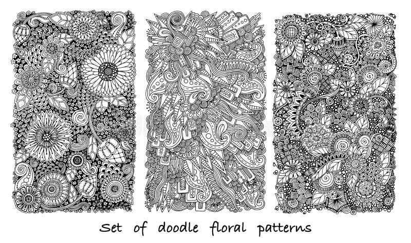 Reeks van krabbelpatroon in vector met bloemen en Paisley royalty-vrije stock afbeeldingen