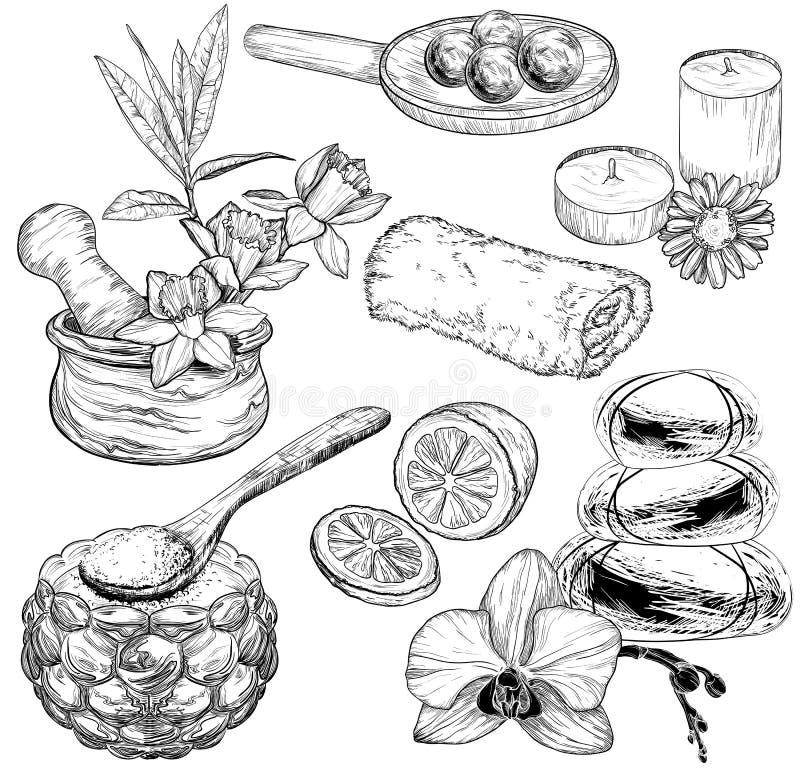Reeks van kuuroord en Schoonheidsverzorgingschets, biologische producten royalty-vrije illustratie
