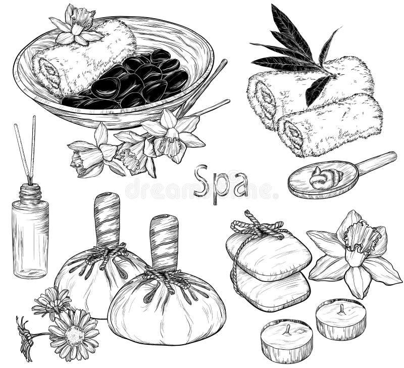 Reeks van kuuroordillustraties, Schoonheid en gezondheidszorgschets vector illustratie