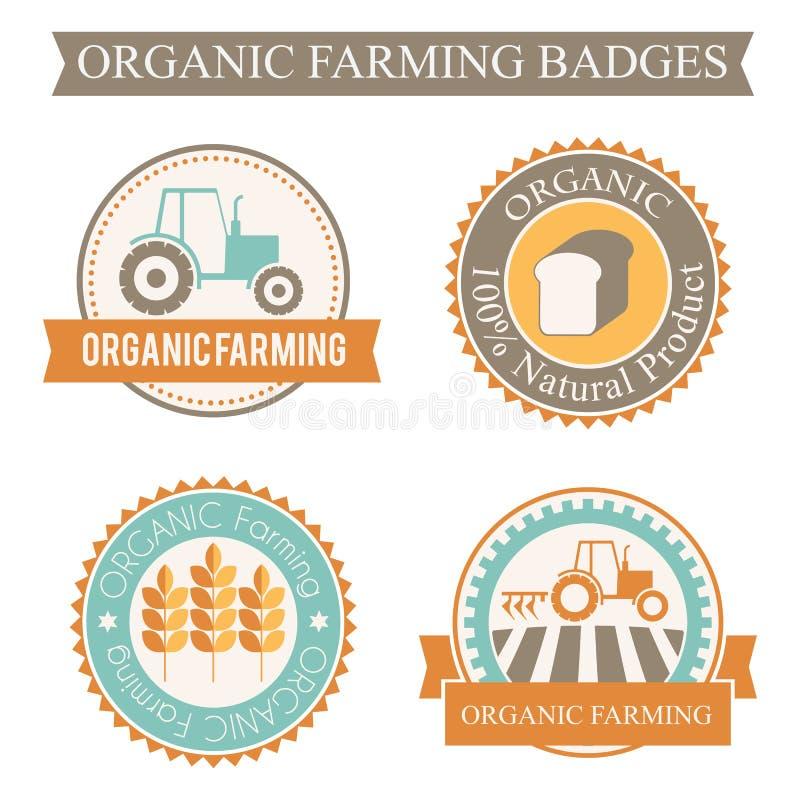 Reeks van 4 landbouw en de landbouwkentekens vector illustratie