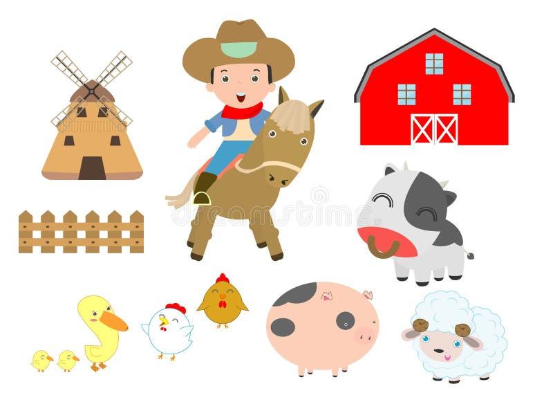 Reeks van landbouwbedrijfdieren en cowboy op witte achtergrond, schuur, koe, varken, kip, eend, schapen, paard, os, Vectorillustr vector illustratie