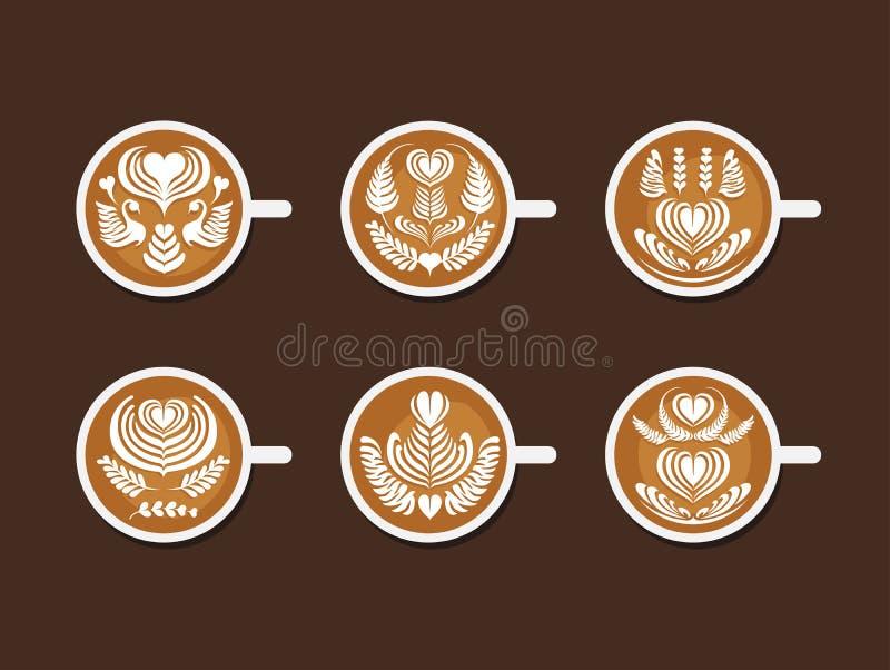 Reeks van Latte Art White Cup royalty-vrije illustratie