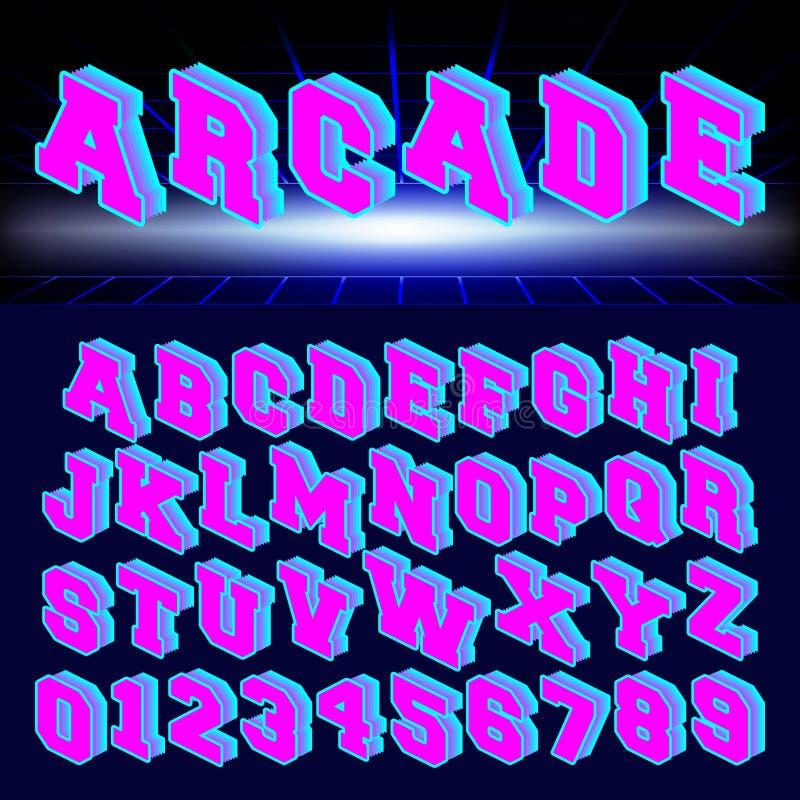 Reeks van letters en getallen de jaren '80 retro stijl vector illustratie