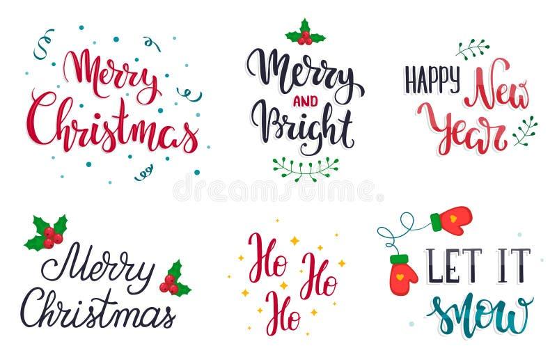 Reeks van letters voorziende elementen van de Kerstmishand Laat het sneeuwen Vrolijke Kerstmis Vrolijk en Helder Gelukkig Nieuwja royalty-vrije illustratie