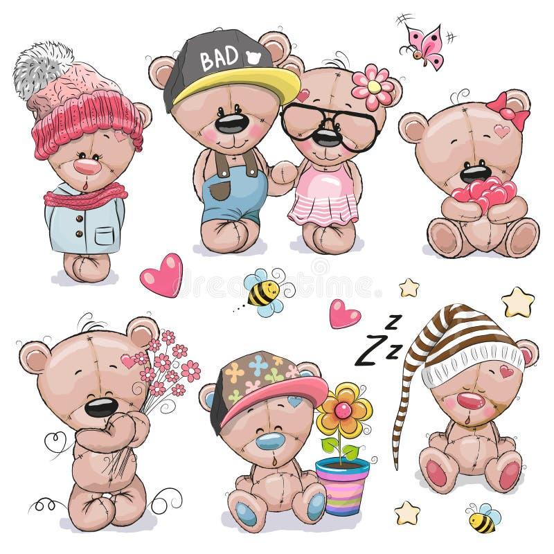 Reeks van Leuk Beeldverhaal Teddy Bear royalty-vrije illustratie