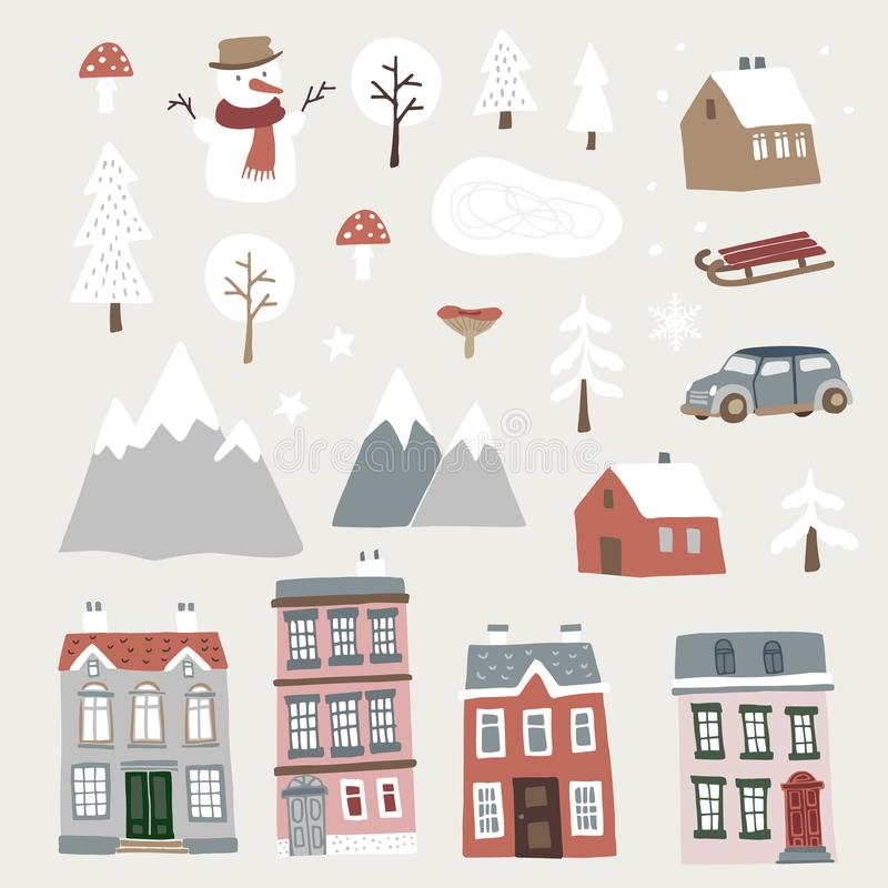 Reeks van leuk Kerstmislandschap, stad en dorpspictogrammen Hand getrokken huizen, bergen, sneeuwman en bomen Geïsoleerde vector illustratie