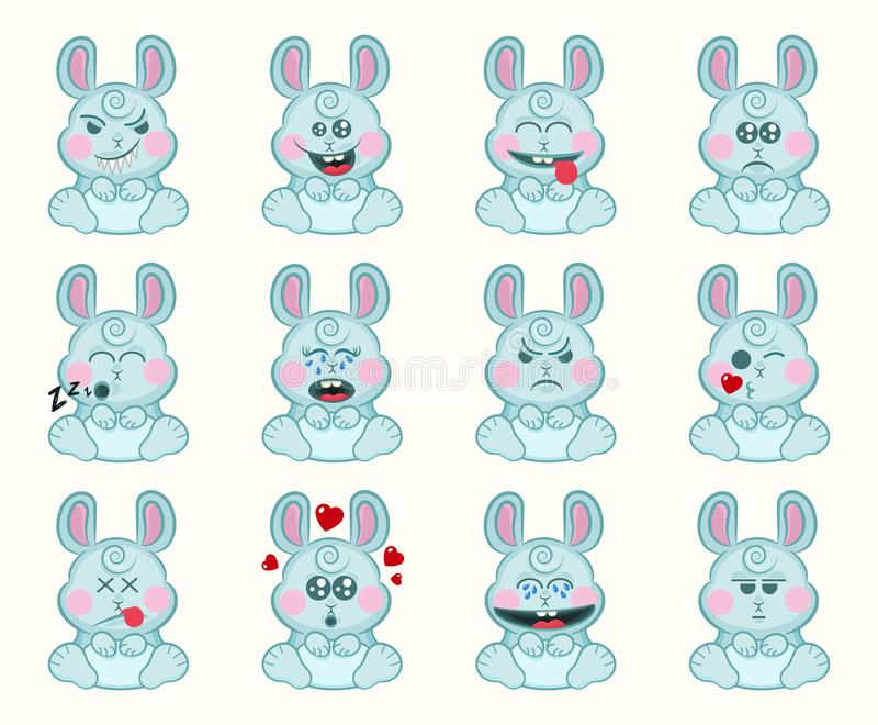 Reeks van leuk konijntje met verschillende emoties Het konijngezicht van het karakterbeeldverhaal Avatar emoticon illustratie Kon royalty-vrije illustratie