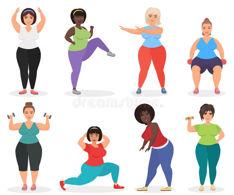 Reeks van leuk plus grootte gebogen vrouwen die geschiktheidsoefening doen Vette vrouwensport en fitness royalty-vrije illustratie