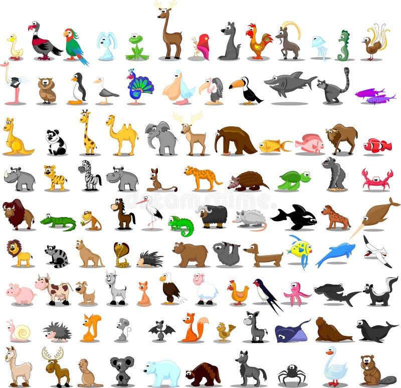 Reeks van 100 leuke beeldverhaaldieren stock illustratie