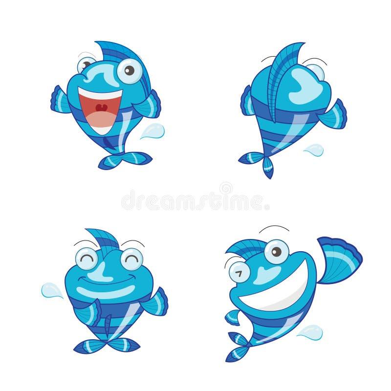 Reeks van leuke blauwe vissenvector characte royalty-vrije stock afbeelding