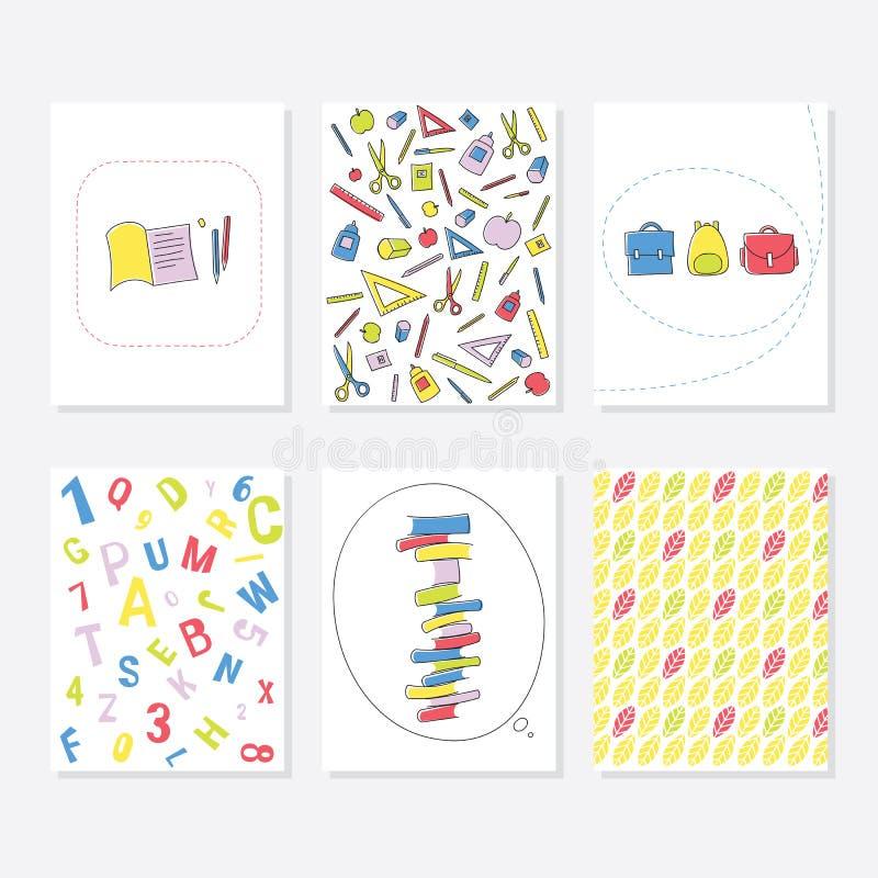 Reeks van 6 Leuke Creatieve Kaartenmalplaatjes met School en Autumn Theme Design Hand Getrokken Kaart voor Verjaardag, Verjaardag royalty-vrije illustratie