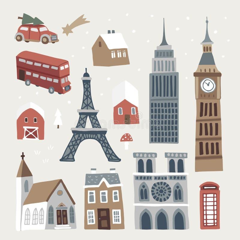 Reeks van leuke de winterstad, stad en dorpspictogrammen Hand getrokken huizen, kerk, Eiffel en Big Ben-toren, doubledecker en vector illustratie