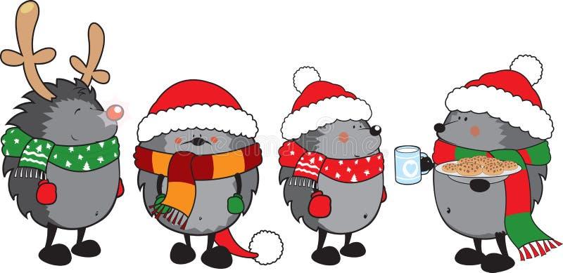 Reeks van 4 leuke egels gekleed voor Kerstmis vector illustratie