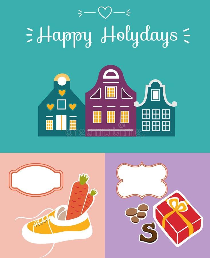 Reeks van leuke groetkaart voor Heilige Nicholas Sinterklaas dag w stock foto's
