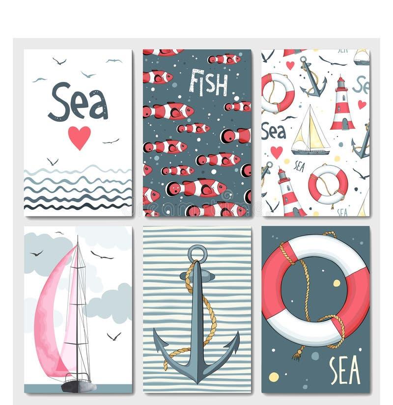 Reeks van 6 leuke kaartenmalplaatjes met marien ontwerp stock illustratie