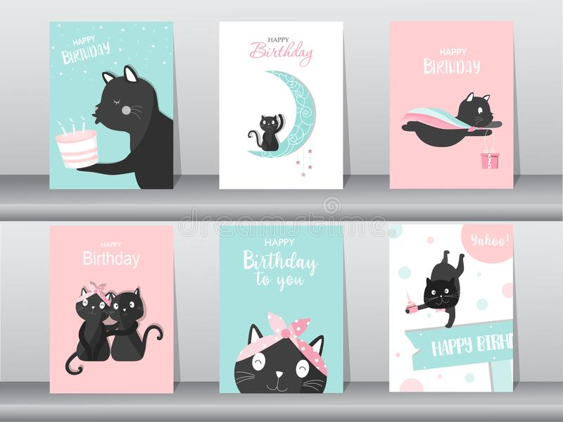 Reeks van leuke kat op verjaardagsachtergronden Ontwerp voor jong geitjekaarten, Vectorillustraties stock illustratie