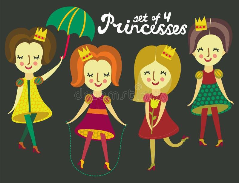 Reeks van 4 leuke kleurrijke Prinsessen royalty-vrije illustratie