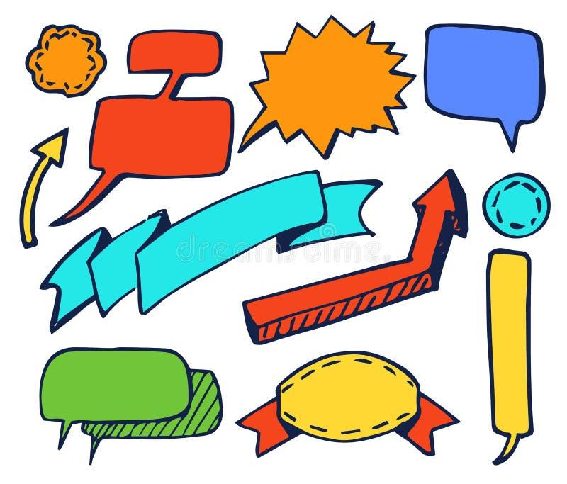 Reeks van Leuke Kleurrijke Stickers Vectorillustratie stock illustratie
