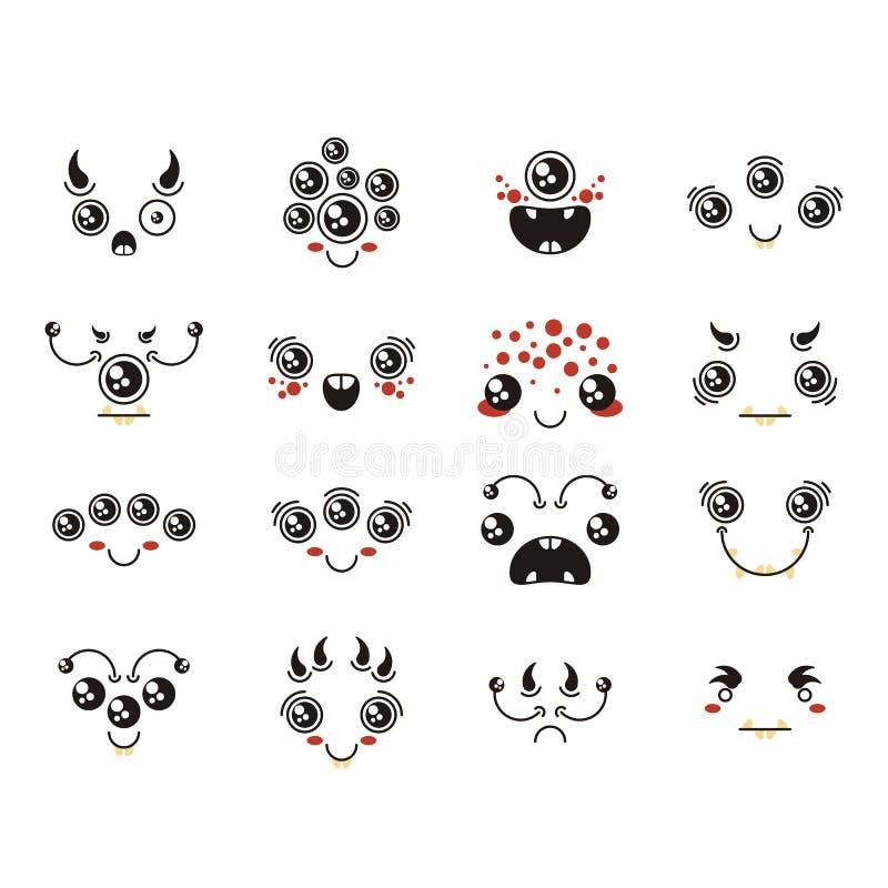 Reeks van leuke mooie kawaii vreemde emoticon stock illustratie