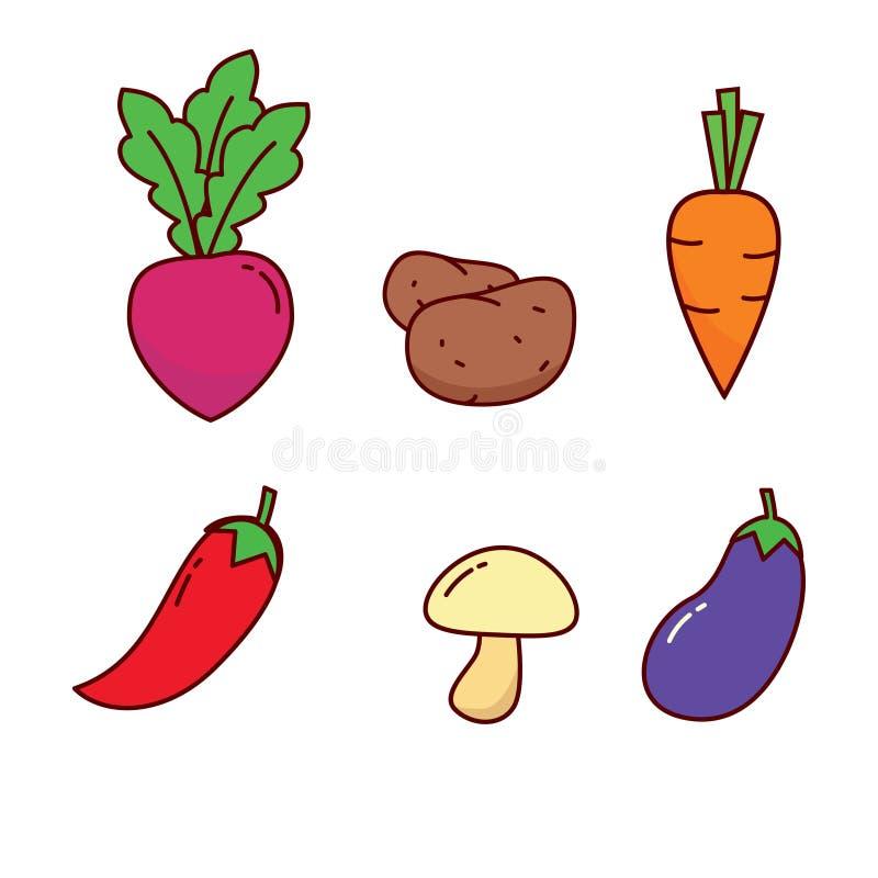 Reeks van leuke plantaardige vectorillustratie die op witte achtergrond wordt geïsoleerd stock illustratie