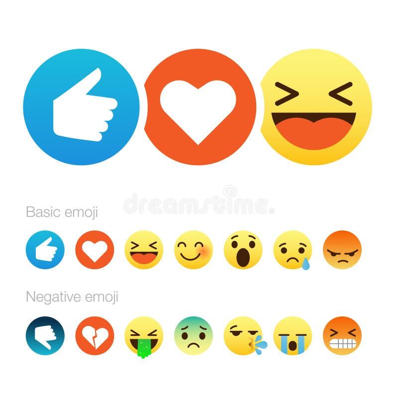 Reeks Van Leuke Smiley Emoticons Vlak Ontwerp Vector Illustratie