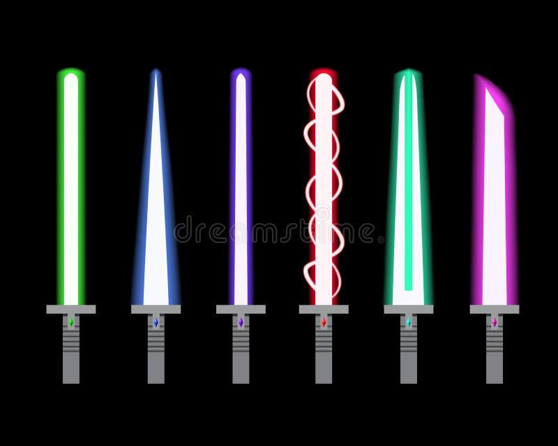 Reeks van licht zwaard in vlakke stijl stock illustratie