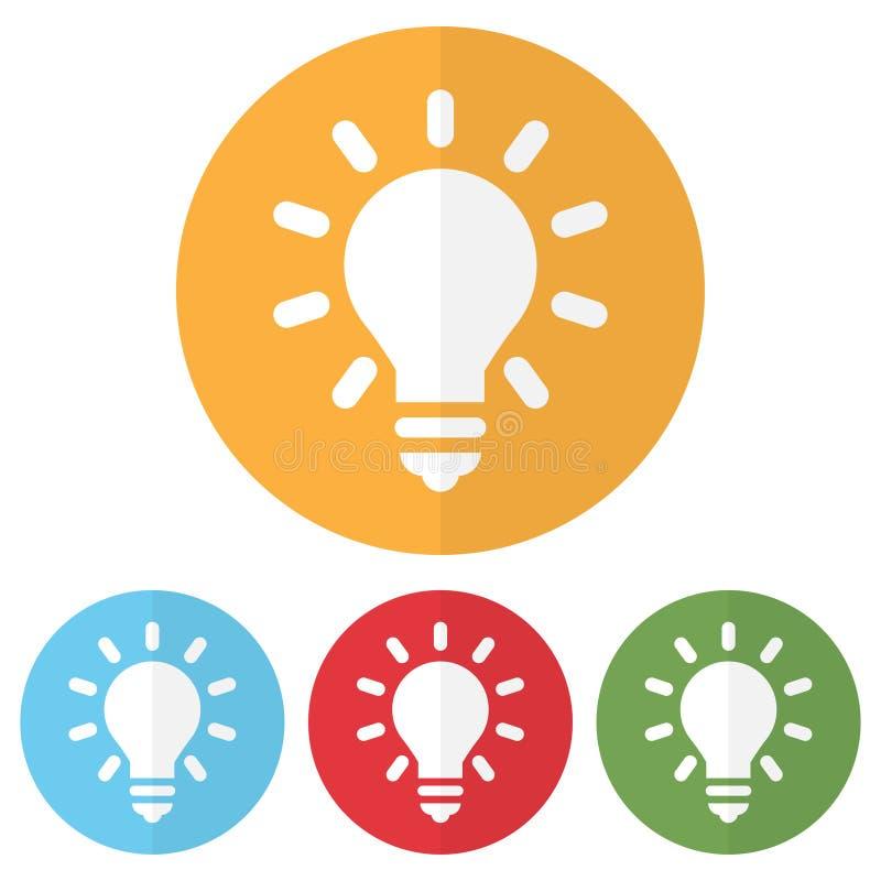 Reeks van lightbulbpictogram op kleurrijke cirkels Vector illustratie vector illustratie