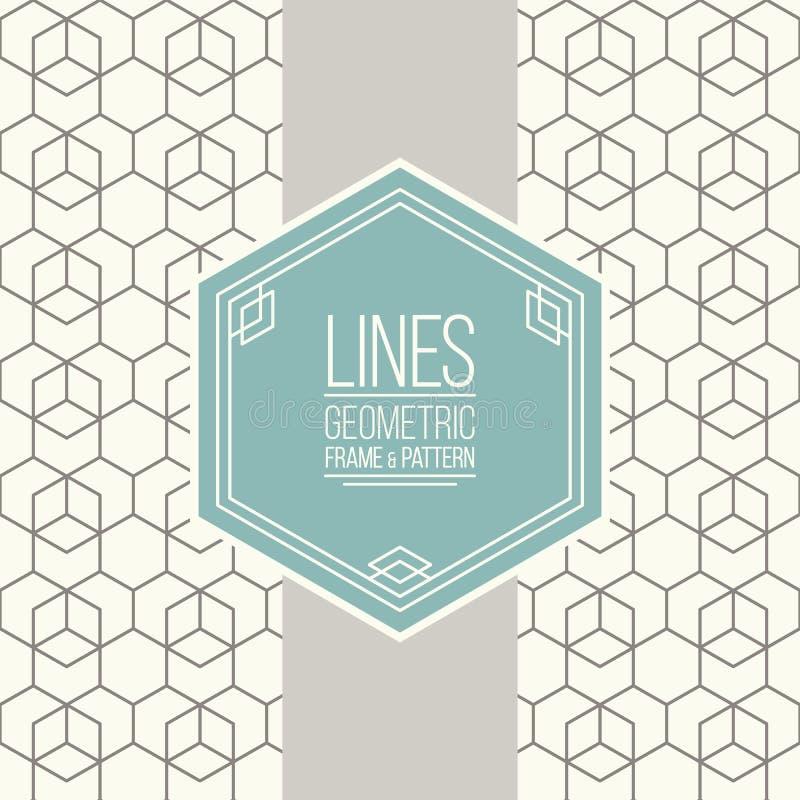 Reeks van lijnpatroon en lineair kader vector illustratie