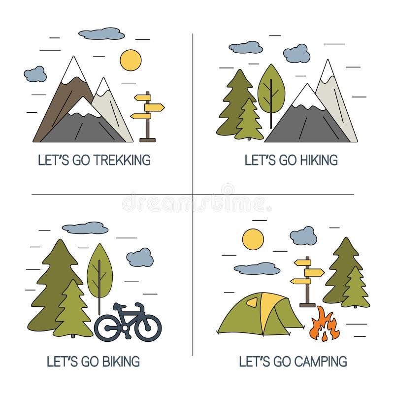 Reeks van lineair landschappenontwerp Vectorillustraties voor het toerisme van de wandelingstrekking en reizenconcept stock illustratie