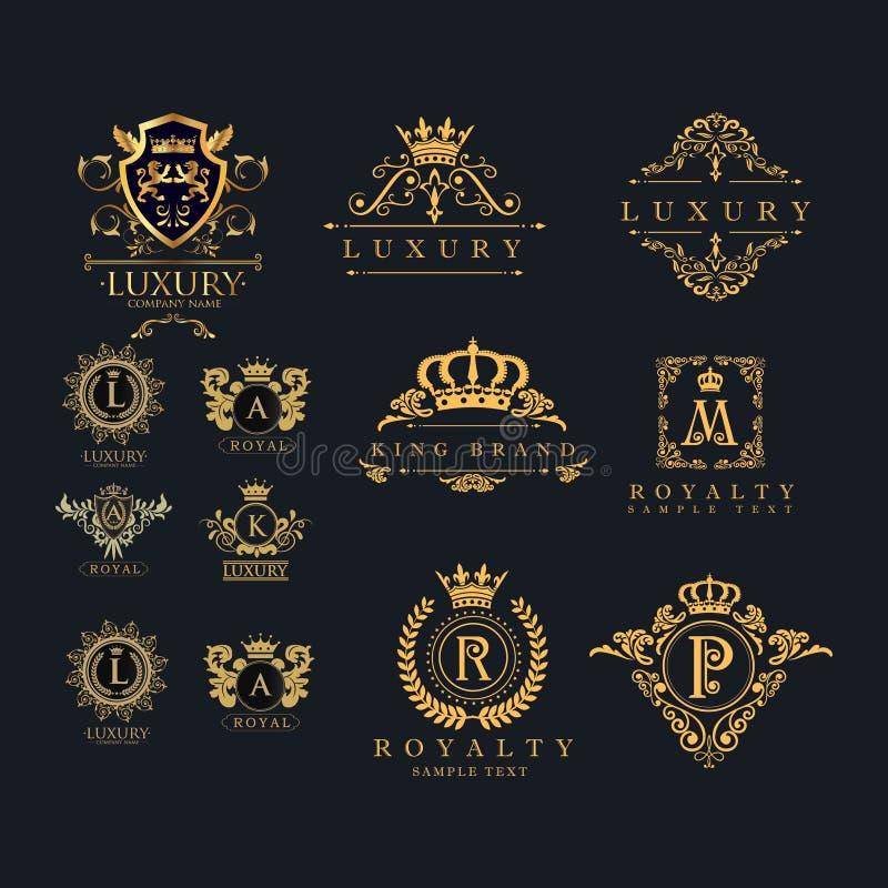 Reeks van luxe koninklijk kroon en etiketkenteken - embleemvector vector illustratie