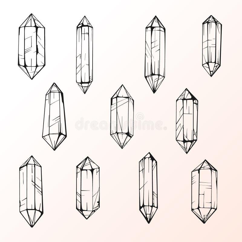 Reeks van 11 magische kristalgemmen stock illustratie