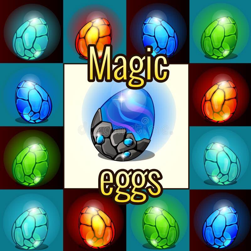 Reeks van magische reeks, draakeieren met backlight royalty-vrije illustratie
