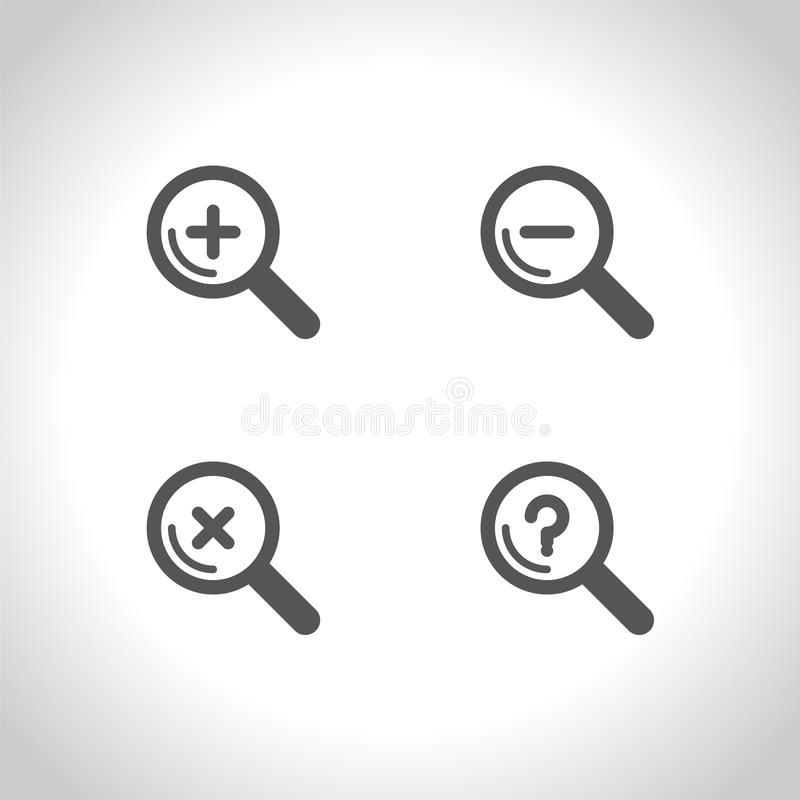 Reeks van Magnifier-het pictogram van het glasteken De knoop van het gezoemhulpmiddel vector illustratie
