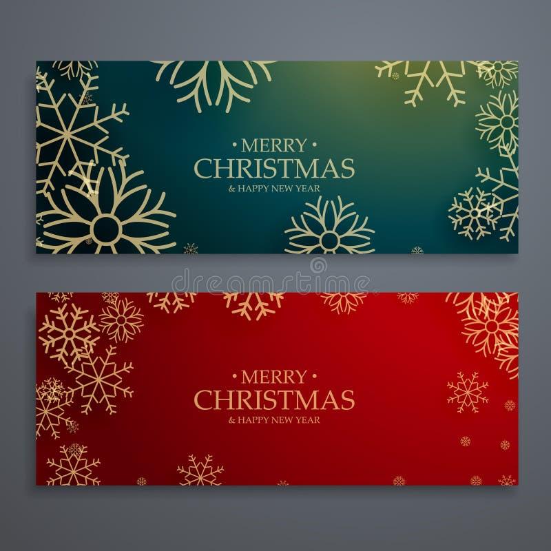 reeks van malplaatje van twee het vrolijke Kerstmisbanners in rood en groen col. royalty-vrije illustratie