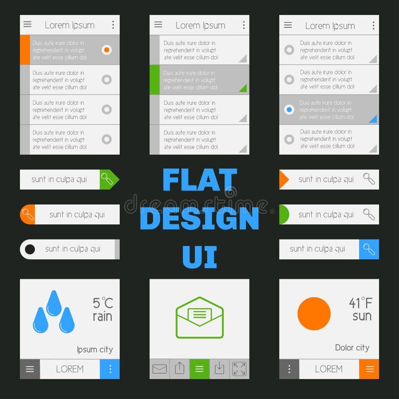 Reeks van malplaatjes mobiele interface Vlakke UI/UX Kan in m worden gebruikt stock illustratie
