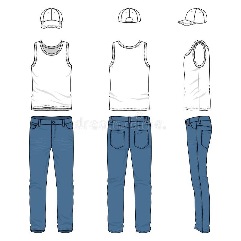 Reeks van mannelijk vest, jeans, honkbal GLB vector illustratie