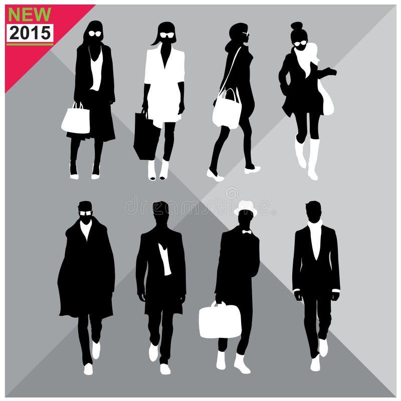 Reeks van mannen en vrouwen zwarte editable silhouetteninzameling, vector illustratie