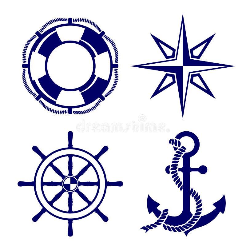 Reeks van mariene symbolen Vectorillustratie. stock illustratie