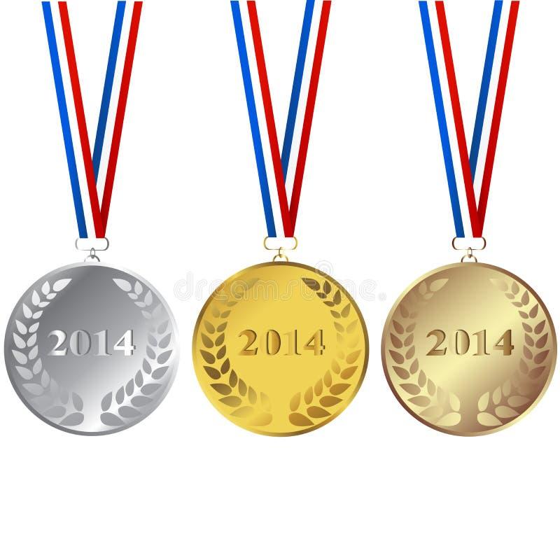 Reeks van 2014 medailles stock illustratie