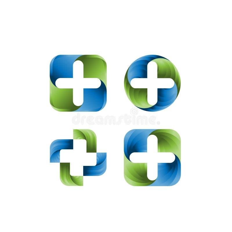 Reeks van Medisch het ontwerpmalplaatje van het apotheekembleem Creatief Medisch Concept Logo Design Template Vectorembleemmalpla stock illustratie