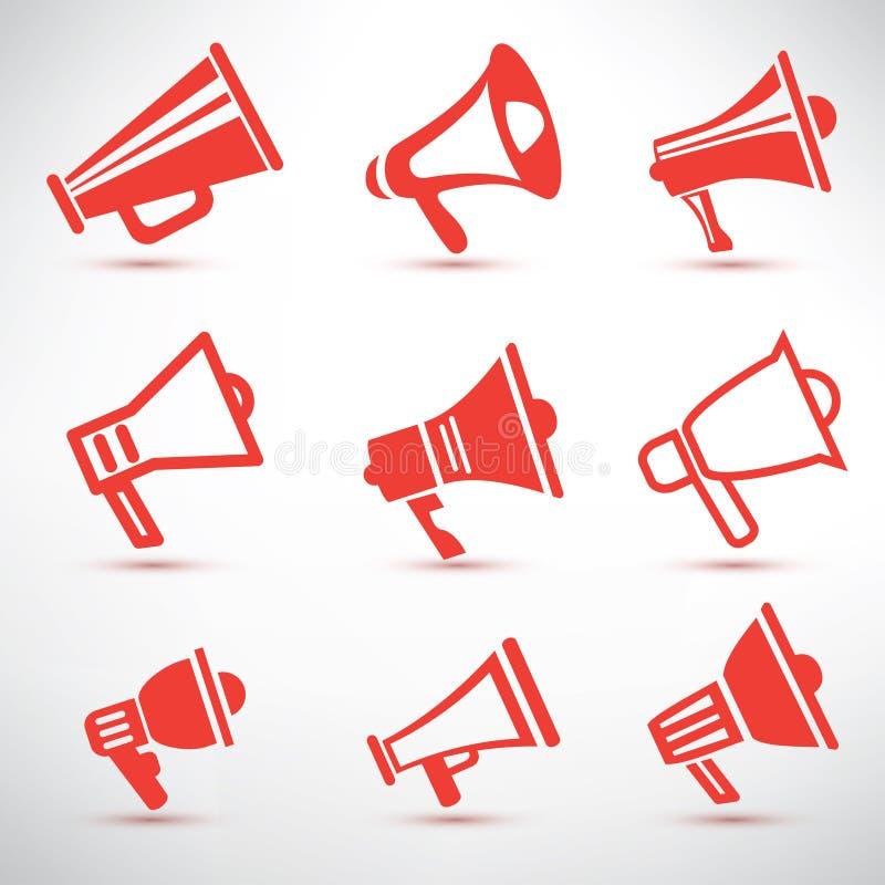 Reeks van megafoon, luidsprekerssymbolen royalty-vrije illustratie