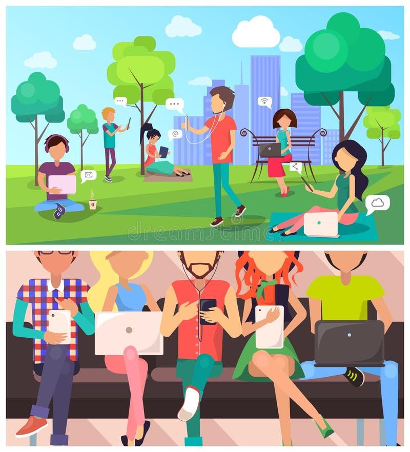 Reeks van Mensen en Technologie in Beeldverhaalstijl vector illustratie