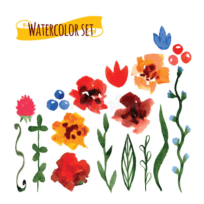 Reeks van met de hand geschilderde waterverf vectorbloemen en verlof royalty-vrije illustratie