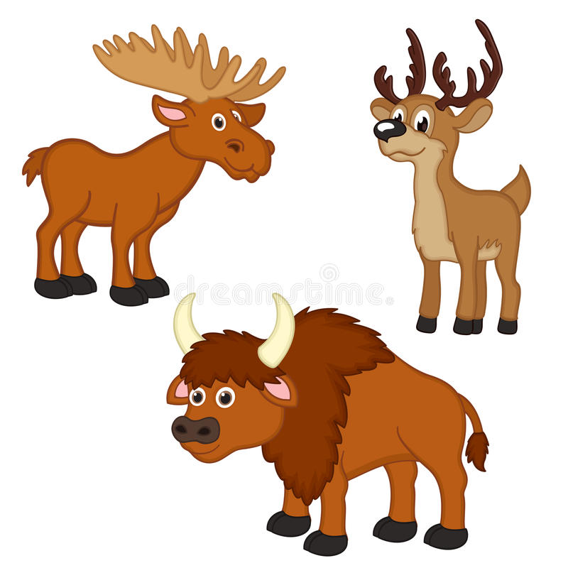 Reeks van met elanden, herten, bizon vector illustratie