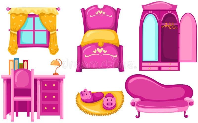 Reeks van meubilair vector illustratie